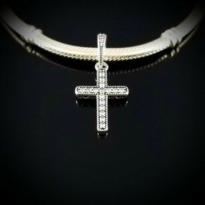 Authentic Pandora Classic Cross Pendant Silver